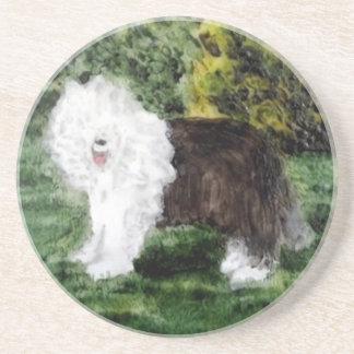 Old English Sheepdog Painting Drink Coaster