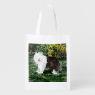Old English Sheepdog Painting Grocery Bag