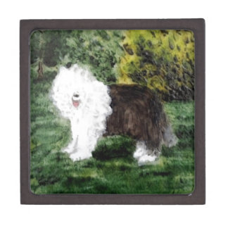 Old English Sheepdog Painting Keepsake Box