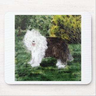 Old English Sheepdog Painting Mouse Pad