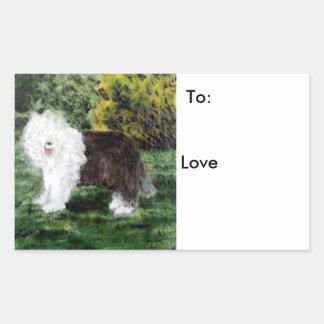 Old English Sheepdog Painting Rectangular Sticker