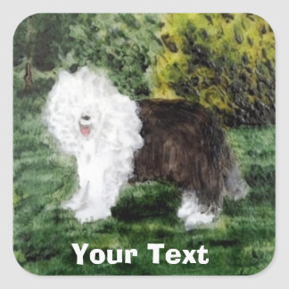 Old English Sheepdog Painting Square Sticker