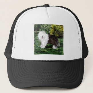 Old English Sheepdog Painting Trucker Hat