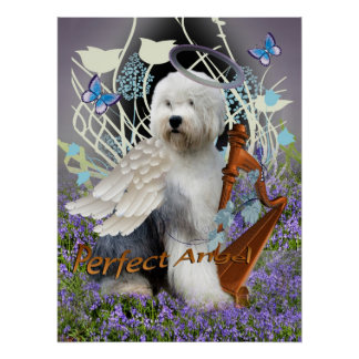 Old English sheepdog Perfect Angel Canvas Poster