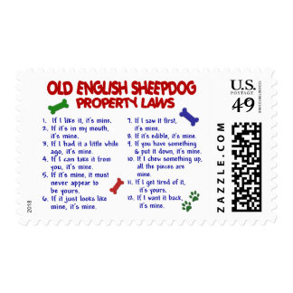OLD ENGLISH SHEEPDOG Property Laws 2 Postage Stamps