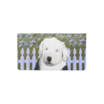 Old English Sheepdog Puppy Painting - Dog Art Checkbook Cover