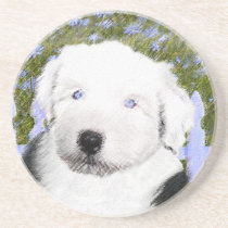 Old English Sheepdog Puppy Painting - Dog Art Drink Coaster