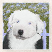 Old English Sheepdog Puppy Painting - Dog Art Glass Coaster