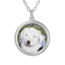 Old English Sheepdog Puppy Painting - Dog Art Silver Plated Necklace