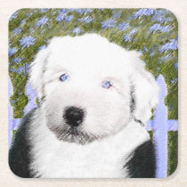 Old English Sheepdog Puppy Painting - Dog Art Square Paper Coaster