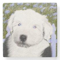 Old English Sheepdog Puppy Painting - Dog Art Stone Coaster