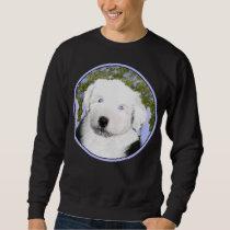 Old English Sheepdog Puppy Painting - Dog Art Sweatshirt