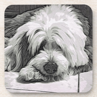 Old English Sheepdog Resting Drink Coaster