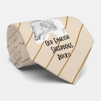 Old English Sheepdog Rock - printed both side Tie