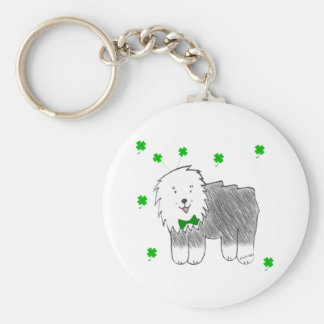Old English Sheepdog Saint Patricks Day Basic Round Button Keychain