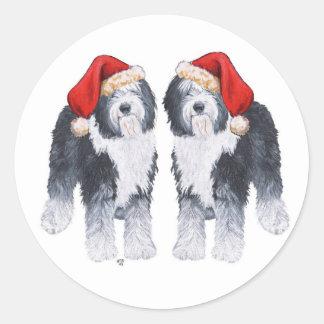Old English Sheepdog Santa Hat Classic Round Sticker