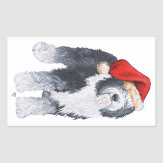 Old English Sheepdog Santa Hat Rectangular Sticker