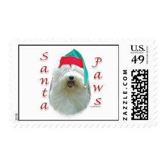 Old English Sheepdog Santa Paws Postage