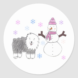 Old English Sheepdog & Snowman Classic Round Sticker