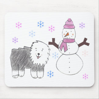 Old English Sheepdog & Snowman Mouse Pad