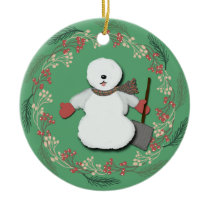 Old English Sheepdog Snowman Ornament