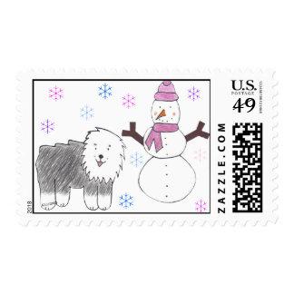 Old English Sheepdog & Snowman Postage