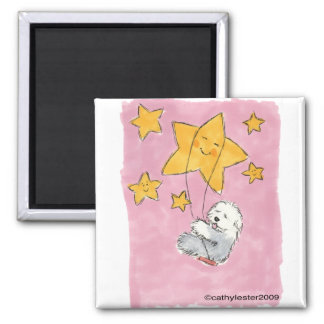 Old English Sheepdog Star 2 Inch Square Magnet