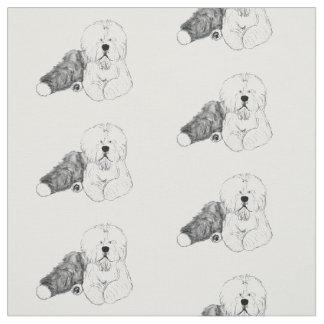 old english sheepdog Walt Dizzy Wigglebottom Fabric