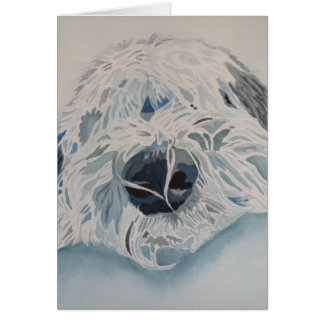 """Old English Sheepdog  """"Water Color"""" Card"""