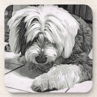 """Old English Sheepdog """"What's That? Drink Coaster"""