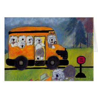 Old English Sheepdog Wigglebottom School Bus Card