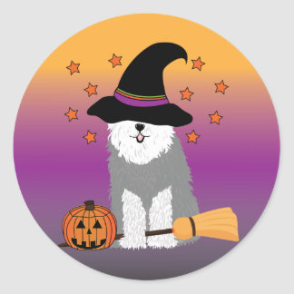 Old English Sheepdog Witch Stickers
