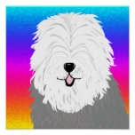 Old English Sheepdog (with covered eyes) Posters