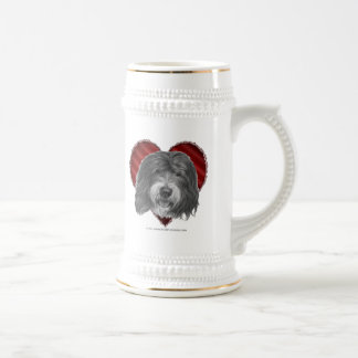 Old English Sheepdog with Heart Beer Stein