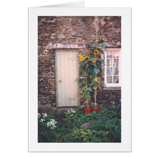 OLD ENGLISH STONE COTTAGE WITH SUNFLOWERS CARD