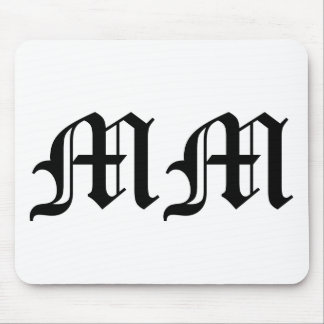 Old English Text Letters MM on White Background Mouse Pad