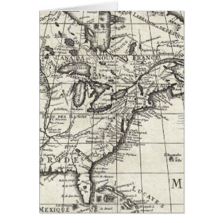 Old engraving: classic map of USA & Canada Greeting Card