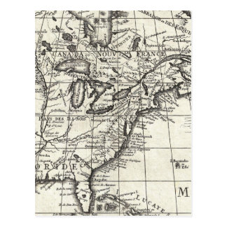Old engraving: classic map of USA & Canada Postcard