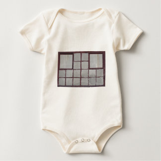 Old factory wood window on a white background baby bodysuit