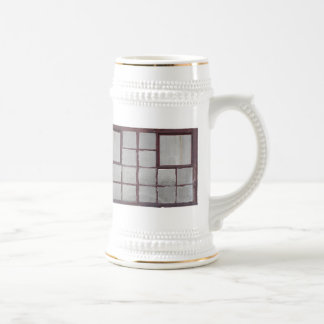 Old factory wood window on a white background beer stein