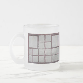 Old factory wood window on a white background frosted glass coffee mug