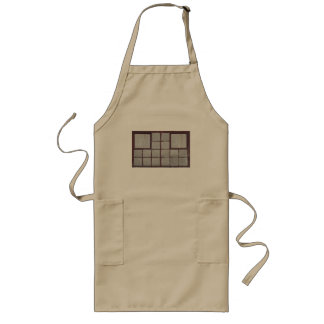 Old factory wood window on a white background long apron