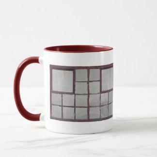 Old factory wood window on a white background mug