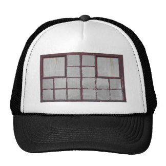 Old factory wood window on a white background trucker hat