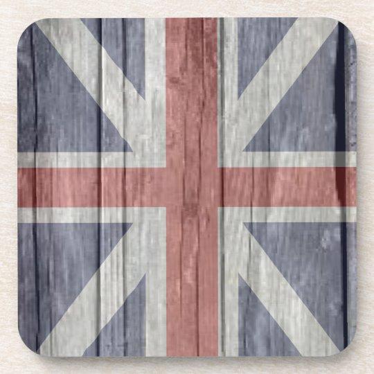 Old faded antique wood UK British Flash Coaster