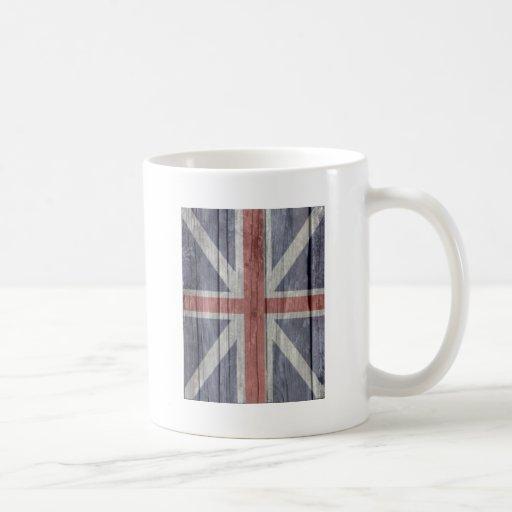 Old faded antique wood UK British Flash Coffee Mug