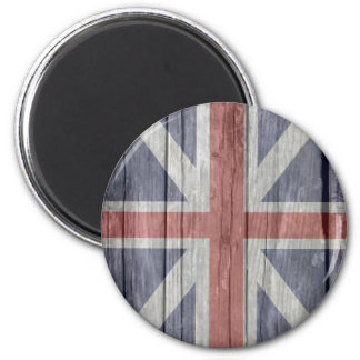 Old faded antique wood UK British Flash 2 Inch Round Magnet
