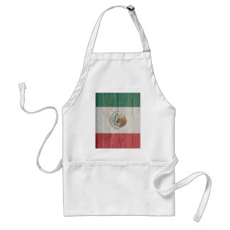 Old faded wood Mexican flag Apron