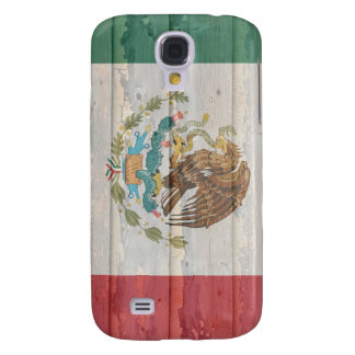 Old faded wood Mexican flag Galaxy S4 Case