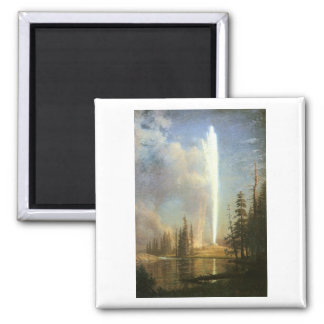 Old Faithful, Albert Bierstadt 2 Inch Square Magnet